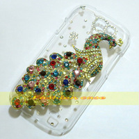 1 Pcs Handmade Bling Diamond Peacock Clear Hard Back Case For Samsung Galaxy Express i8730