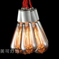 Light bulb pendant light nostalgic vintage light bulb pendant light bar table bedroom lamp decoration art pendant light