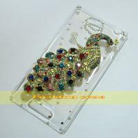 1 Pcs Handmade Bling Diamond Peacock Clear Hard Back Case For Sony Xperia C S39H C2305