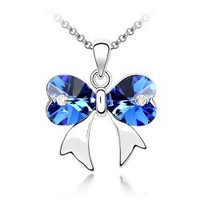 Crystal necklace girls accessories popular accessories crystal necklace bow 4057