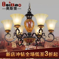 Fashion bedroom pendant light antique wrought iron pendant light lighting american rustic resin colored drawing lamp lamps