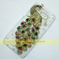 1 Pcs Handmade Bling Diamond Peacock Clear Hard Back Case For Motorola XT788
