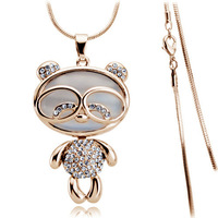 Gifts for girls! Free shipping high quality fashion gold plated rhinestone crystal panda 18k long necklace