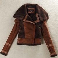 Hot Sale Winter women fur one piece coat vintage motorcycle jacket Large lapel suede berber fleece outerwear female short jacket