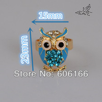 NEW 50pcs Colorful Owl Black Eyes Crystal Rhinestone Rings Gold Tone Alloy Ring Girl's Women's GIFT Fashion Jewelry Wholesale