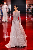 Elie Saab Long Sleeve Applique Beading Chiffon Backless Elegant Long Sleeve Evening Dresses