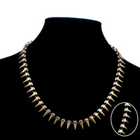 New 2014 Fashion Individual New Style Gold and Silver Color Alloy Exaggerate Spike Punk Necklace for Women