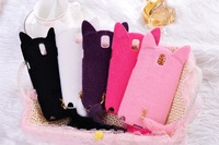 3D Plush Fluff Cat Design Soft TPU Protect Shell Case for Samsung Galaxy Note 3 N9000