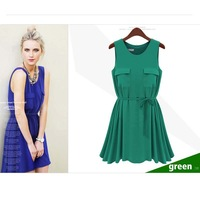 2013 new European and American loose sleeveless dress