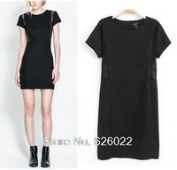 2013 New Arrival Sexy Women's Slim Lace Splice Hole Crew Neck Short Sleeve Loose Backing Dresses Free shipping