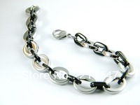 Free Shipping! 316L Stainless Steel Fashion Bracelet,black plated & silver charm bracelet,Fashion bracelets 2013,men bracelet