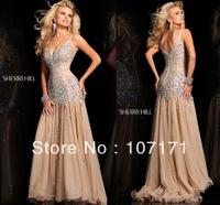 Custom-made Sexy V-neck Low Back Beading Rhinestones Organza Evening Dress Prom Dress