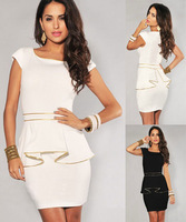 M L XL Plus Size Dress 2014 New Fashion Women Black/White Vintage Gold Edge Peplum Casual Dress Elegant OL Work Dress