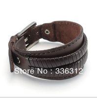 LBG0022133  Fashion Jeruk Punk Style brown Bracelet Leather Men Women Punk Fashion Belt Bangle Cuff Wristband