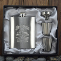 Jack Daniels Hip Flask set 7oz Portable Stainless Steel Flagon Wine Bottle Gift Box Hip Flasks,4pcs/set,Free Shipping!