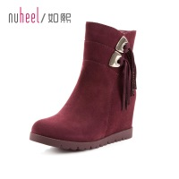 2013 boots female women's shoes single boots tassel high-heeled boots genuine leather boots 130156 medium-leg elevator