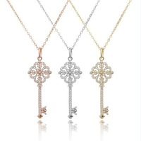 Amazing Enchant Primrose Key Necklace,In REAL 925 Sterling Silver,with Dazzling Diamonds,3 Gold Colors All Available,A Warm Gift