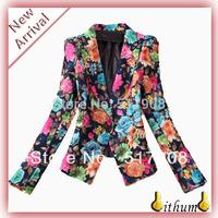 2013 printed blazer Suit Brand Women Flower Print Slim High Quality Blazer Jacket Suit Coat Outerwear Overcoat Top