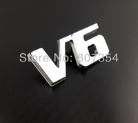 Excellent V6 Plated metal car badge sticker for Mercedes Benz,Chevrolet,ford,Toyota Camry,Mitsubishi,Nissan Teana,Hyundai emblem