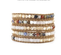 NEW 2013 Natural stone beads leather bracelet for womem .Manual preparation Bracelet Multilayer  Wholesale Free shipping