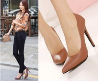 brown shoes for women Thin slim pointed toe thin heels high-heeled single shoes ol work women's shoes jeffrey campbell shoes