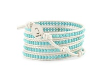 2013 New jewelry Turquoise Beads Bracelet for womem .White leather Bracelet Manual preparation Wholesale Free shipping