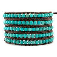 2013 New Fashion leather bracelets & bangles,Turquoise Beads Bracelet for womem&men. Brown leather bracelet