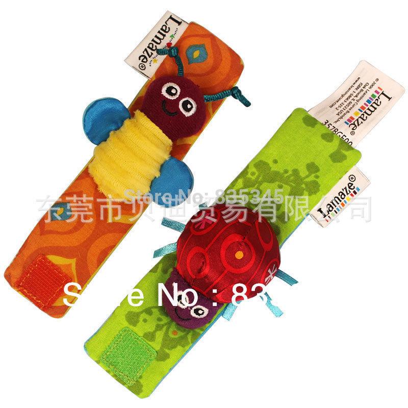 100% banda Authentic brinquedos do bebê chocalhos Watch Band / pulso / Meias Chocalhos de 4 pcs define = (2 peças mãos com duas peças meias)(China (Mainland))