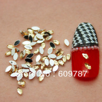 Free Shipping 10000pcs/lot Yellow Flatback Marquise nail art Rhinestone stone decorations