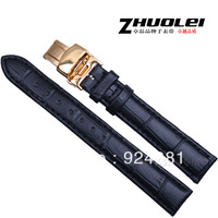 Automatic Double Butterfly Gold Buckle Watchband Genuine Leather Watch Band Strap Belts 14 16 18 20mm Black Free Shipping  4011