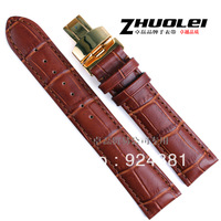 Genuine Leather Watchband Gold Butterfly Buckle Cowhide Watch band Strap Belt 18 19 20 22 24mm male 301