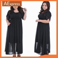 New Arrival European Fashion Long Chiffon Dress for Women,  Short Sleeve Two-piece Dress, Plus Size, XL, XXL, XXXL, 4XL, P-161