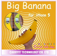 Big banana case for iPhone 5, soft material, nice touching feeling, Free shipping! 1 piece drop shipping.