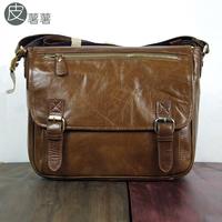 Leather fashion vintage genuine leather cowhide casual women's handbag one shoulder cross-body bag messenger bag man bag