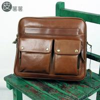 Leather vintage genuine leather first layer of cowhide cross-body bag men brief women's handbag shoulder bag casual bag