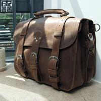 Fashion vintage double-shoulder back crazy horse leather messenger bag cowhide portable travel bag large capacity genuine