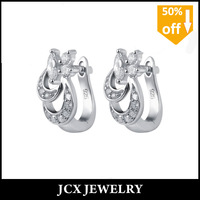 Free shipping shiny sterling earring jewelry for girls