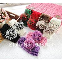 Free Shipping Lady Winter Wool Big Ball Glove Warm Mitten