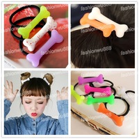 Fashion Vivid Dog Bone  Lady Hairband Elastic Hair Bands 15 Colors Free Shipping 3pcs/lot