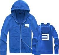 Hot Sale 2014 Fashion Eminem e 100% Cotton New Hiphop thickening Sweatshirt male Cardigan Outerwear jacket Zipper Hoodies