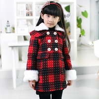Children's girl clothing  winter 2013 female child overcoat woolen outerwear child trench thickening