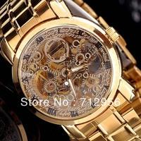 Free Shipping Men's Elegant Man Auto Mechanical Date Tourbillon Mens Wrist Watch