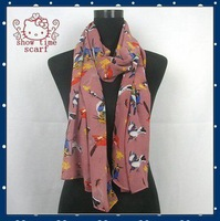 2013 Fashionl Scarf Animal Colorful Bird Print Shawl Autumn Winter Pashmina for woman Free Shipping
