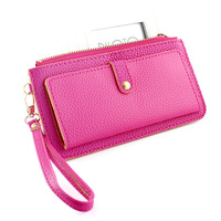 New 2013 Fashion Solid PU leather women Clutch Wallets Ladies Purse Girl Handbag