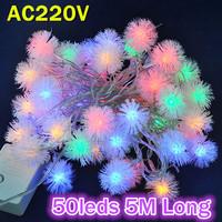 Christmas Tree Decorative Lighting AC220V RGB Color 5M Long 50leds LED String Light Bulbs With Controller