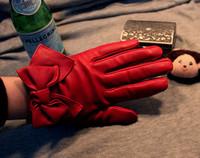 Bow women's sheepskin genuine leather gloves purple classic vintage Women winter looply gloves