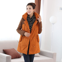 Winter fashion all-match berber fleece thickening wadded jacket women's long-sleeve medium-long wadded jacket cotton-padded