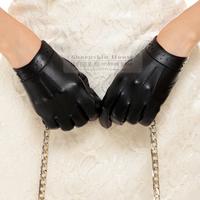 Fashion sheepskin women's repair quality short design genuine leather gloves