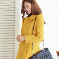 Woolen outerwear women-outerwear autumn and winter outerwear wool-coat slim medium-long