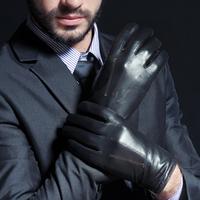 Genuine leather gloves male classic thermal sheepskin gloves plus velvet 13667